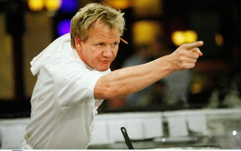 Gordon Ramsay during filming of his Hell's Kitchen television show in the US - Credit: c.20thC.Fox/Everett / Rex Features