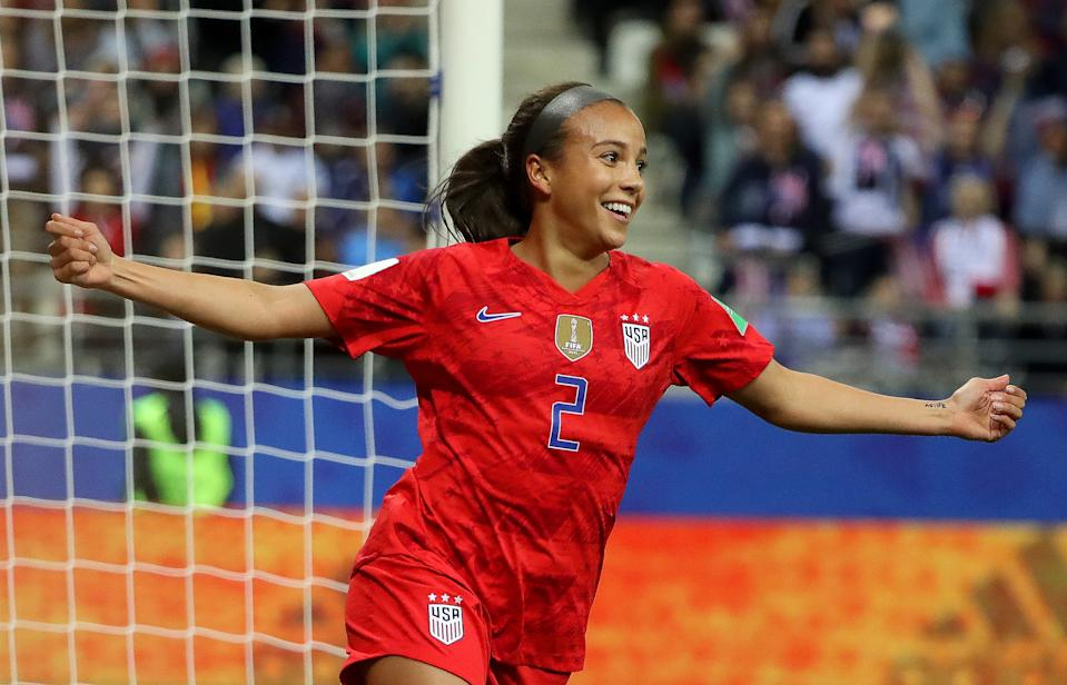 REIMS, FRANCE - JUNE 11: Mallory Pugh of the USA celebrates after scoring her team's eleventh goal during the 2019 FIFA Women's World Cup France group F match between USA and Thailand at Stade Auguste Delaune on June 11, 2019 in Reims, France. (Photo by Robert Cianflone/Getty Images)