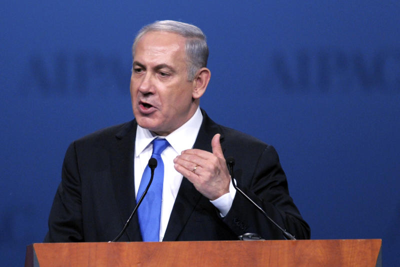 Israeli Prime Minister Benjamin Netanyahu addresses the American Israel Public Affairs Committee (AIPAC) Policy Conference in Washington, Monday, March 5, 2012. (AP Photo/Cliff Owen)