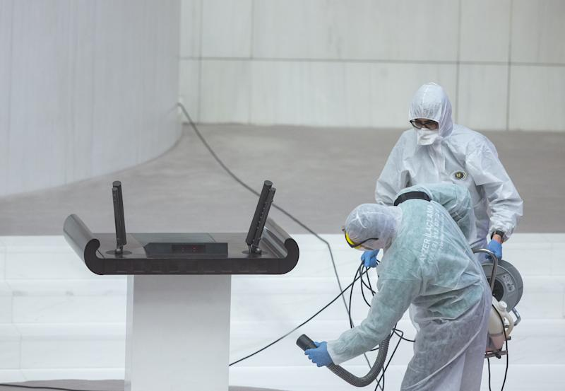 ANKARA, TURKEY - MARCH 13: Health officials disinfect Grand National Assembly of Turkey due coronavirus (Covid-19) outbreak in Ankara, Turkey on March 13, 2020. (Photo by Aytac Unal/Anadolu Agency via Getty Images)