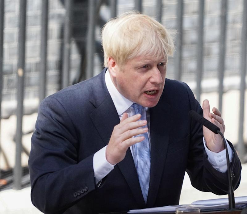 New Prime Minister Boris Johnson speaks to media outside Number 10 of Downing Street in London. (Photo by Yiannis Alexopoulos / SOPA Images/Sipa USA)