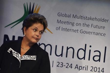 Brazil's President Rousseff gestures during the NETmundial: Global Multistakeholder Meeting on the Future of Internet Governance conference in Sao Paulo