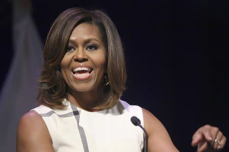 U.S. first lady Michelle Obama gives a keynote speech to the Unite For Veterans Summit in Los Angeles
