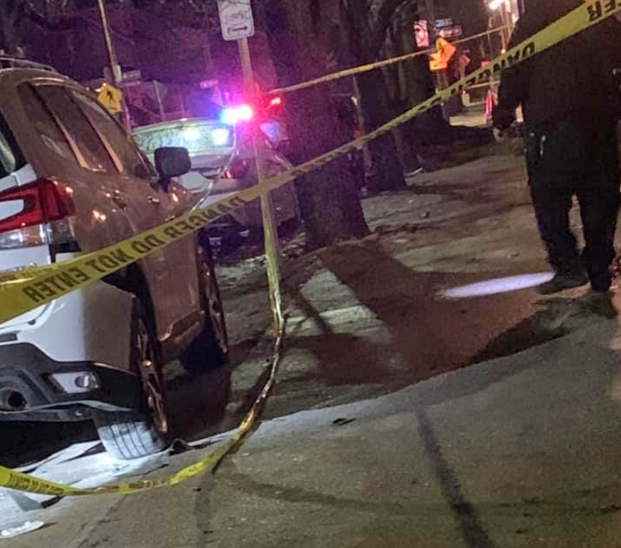 Pittsburgh police are investigating an incendiary device that was thrown from a moving vehicle, damaging a parked vehicle. (Pittsburgh Police)