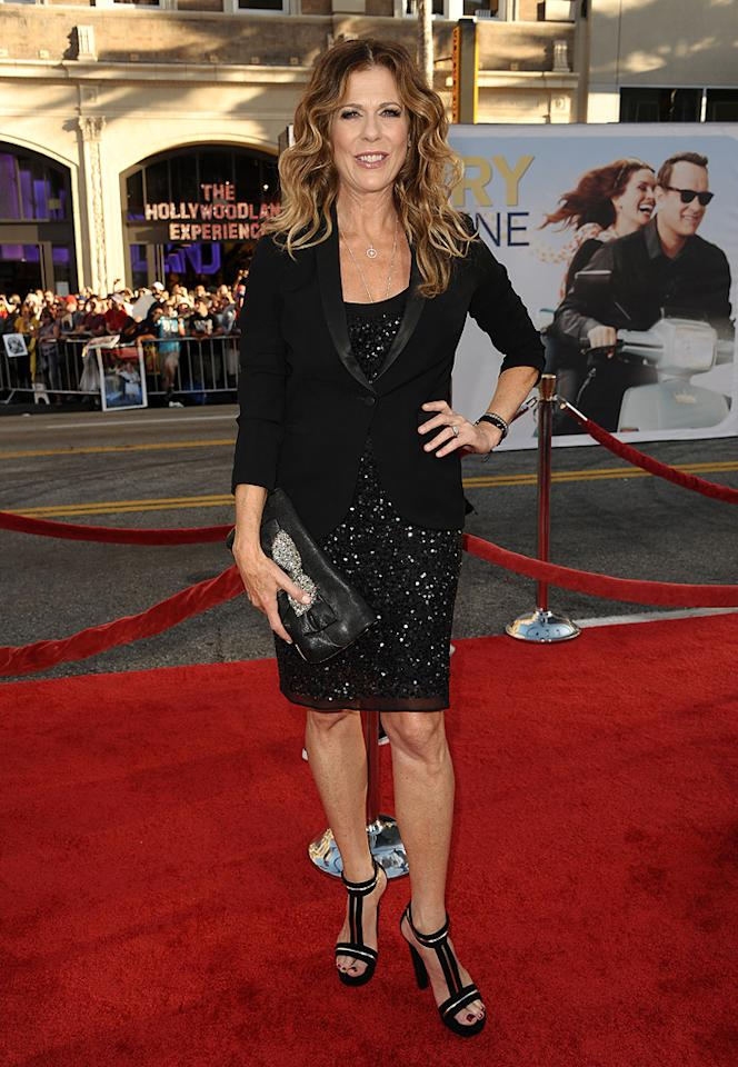 "<a href=""http://movies.yahoo.com/movie/contributor/1800019302"">Rita Wilson</a> at the Los Angeles premiere of <a href=""http://movies.yahoo.com/movie/1810196533/info"">Larry Crowne</a> on June 27, 2011."