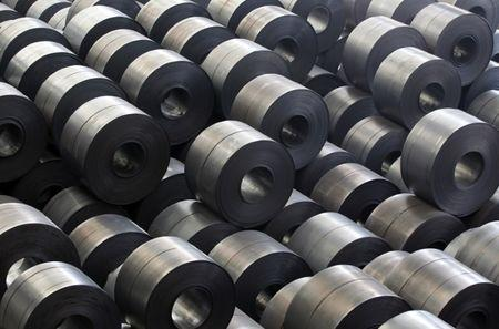Rolled steel are seen at a Hyundai Steel plant in Dangjin