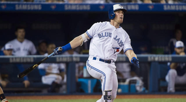 Toronto Blue Jays left fielder Billy McKinney had himself a night on Tuesday. (Nathan Denette/CP)