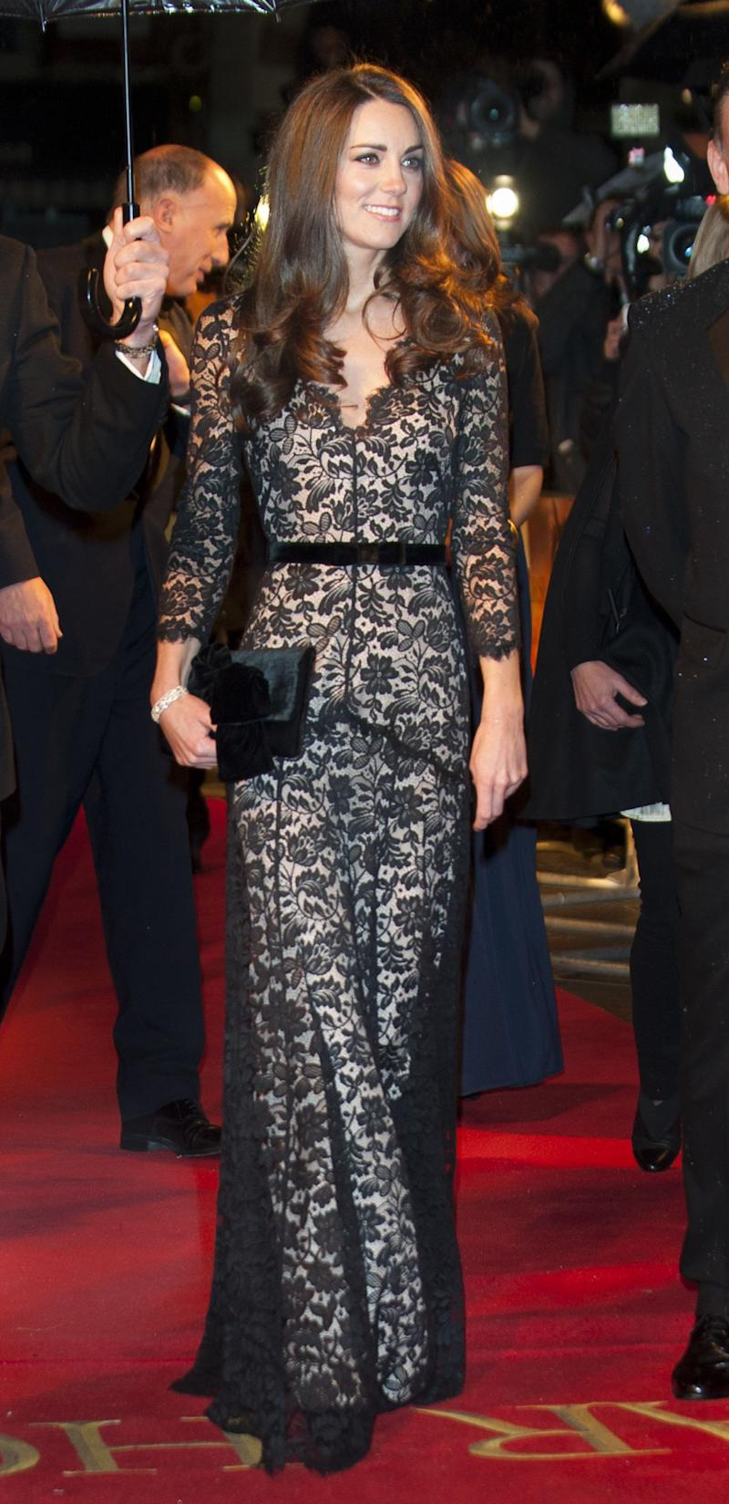 "The Duchess of Cambridge stole the show in an Alice Temperley gown at the UK royal film premiere of ""War Horse"" in January 2012."