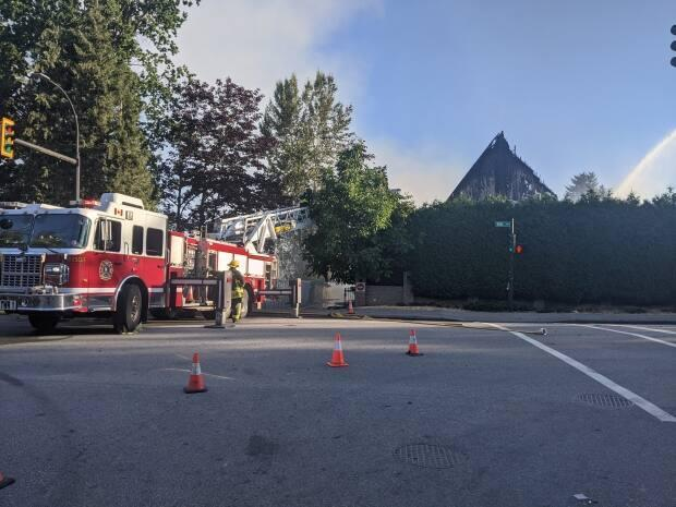 The St. George Coptic Orthodox Church in Surrey, B.C., was destroyed on July 19 by a fire that's being treated as suspicious. Nearby Vancouver has seen 13 incidents of vandalism or mischief involving church properties since early June, police say. (Eva Uguen-Csenge/CBC - image credit)