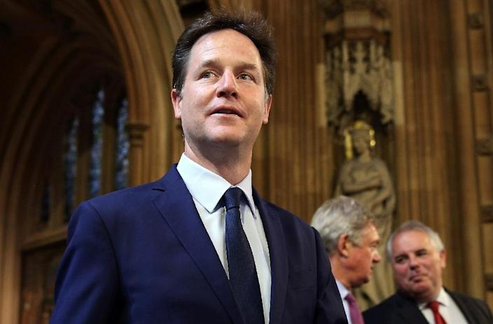 Former British Deputy Prime Minister and former Liberal Democrat party Leader Nick Clegg leaves after listening to Britain's Queen Elizabeth II speak at the Palace of Westminster in central London on May 27, 2015 (AFP Photo/Dan Kitwood)