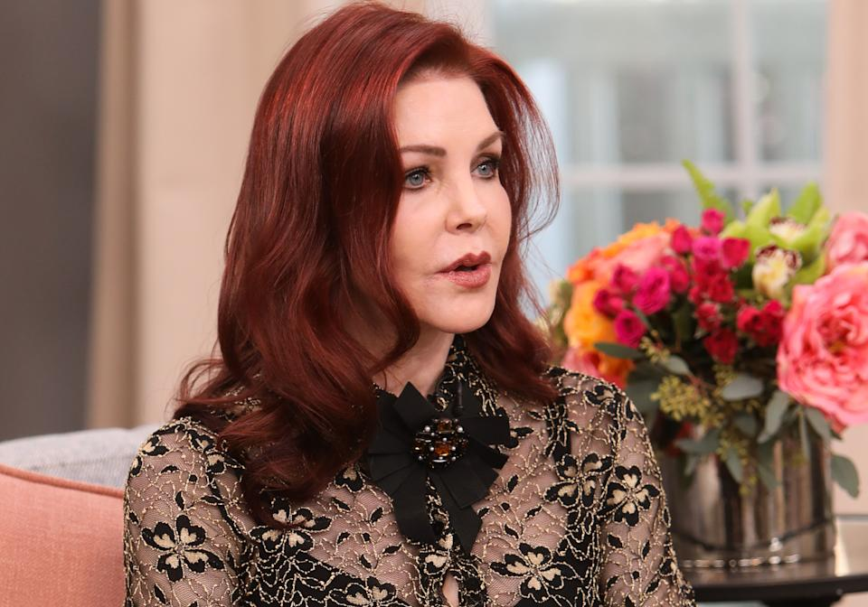 """UNIVERSAL CITY, CALIFORNIA - FEBRUARY 18: Actress Priscilla Presley visits Hallmark Channel's """"Home & Family"""" at Universal Studios Hollywood on February 18, 2020 in Universal City, California. (Photo by Paul Archuleta/Getty Images)"""