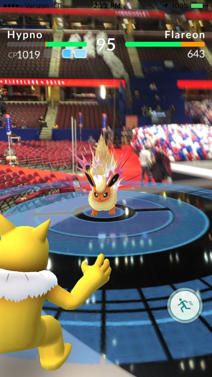 Battling a Flareon Pokémon onstage at the Republican National Convention in Cleveland. (Photo: Yahoo News)