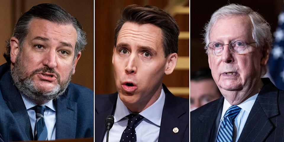 Left to right: Republican Sens. Ted Cruz, Josh Hawley and Mitch McConnell. Most Republicans in Congresswere more worried about Trump's criticism and how it might hurt their standing with his supporters than they were worried for our country. (Photo: Getty Images)
