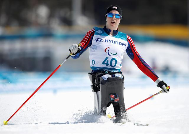 Cross-Country Skiing - Pyeongchang 2018 Winter Paralympics - Ladies' 12 KM - Sitting - Alpensia Biathlon Centre - Pyeongchang, South Korea - March 11, 2018 - Kendall Gretsch of the U.S. competes. REUTERS/Carl Recine