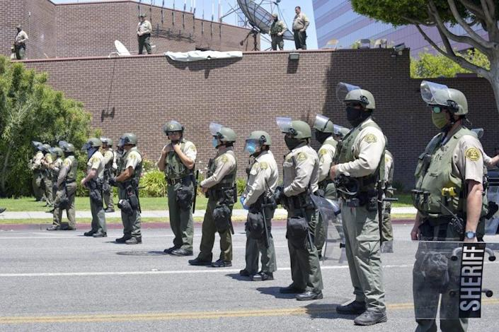The West Hollywood Sheriff's Department is onsite at the All Black Lives Matter Solidarity March on June 14, 2020 in Los Angeles, California. (Photo by Rodin Eckenroth/Getty Images)
