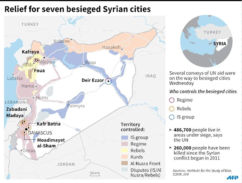 Map of Syria locating besieged cities and updating zones of control across the country. (AFP Photo/John SAEKI, Adrian LEUNG, Thomas SAINT-CRICQ)