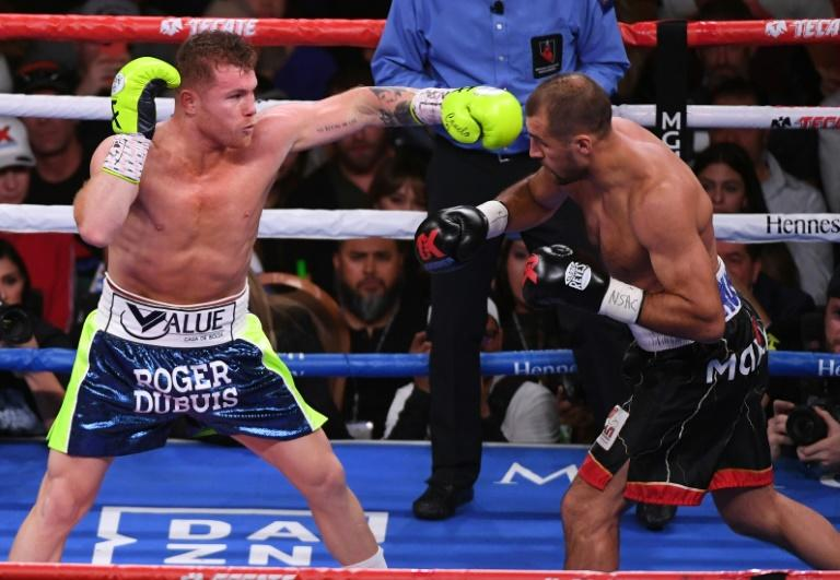 """The first boxing match available on all DAZN markets will be a soon-to-be-announced fight starring Saul """"Canelo"""" Alvarez (L, pictured November 2019)"""