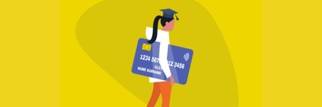 A woman holding a big credit card, with a ball and chain attached to her fit. She's wearing a graduation cap, representing student debt