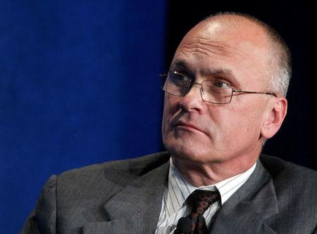 """FILE PHOTO - Andrew Puzder, CEO of CKE Restaurants, takes part in a panel discussion titled """"Understanding the Post-Recession Consumer"""" at the Milken Institute Global Conference in Beverly Hills, California, U.S. on April 30, 2012.  REUTERS/Fred Prouser/File Photo"""