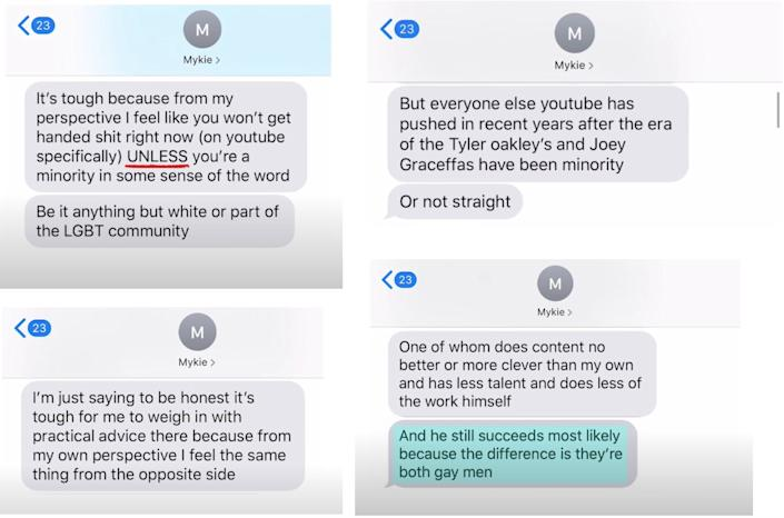 "Valentine shared texts from Mychal that she says showed her saying James Charles has ""less talent"" and ""still succeeds"" because he's gay."