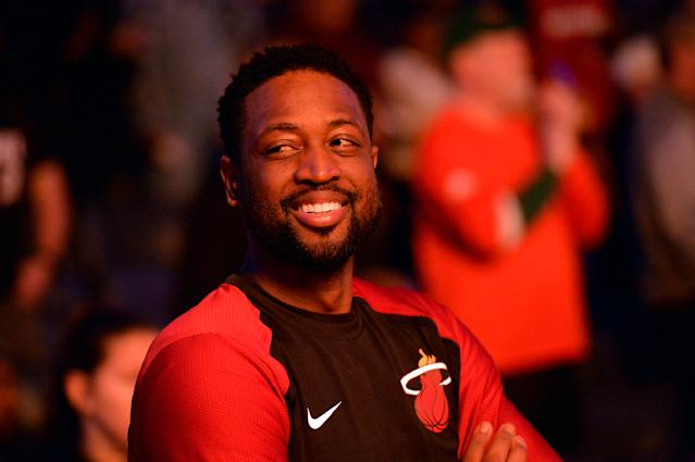 Dwyane Wade and his family are launching a T-shirt line to benefit GLSEN after Wade face backlash for supporting his son's attendance at a pride parade. (AP Photo)
