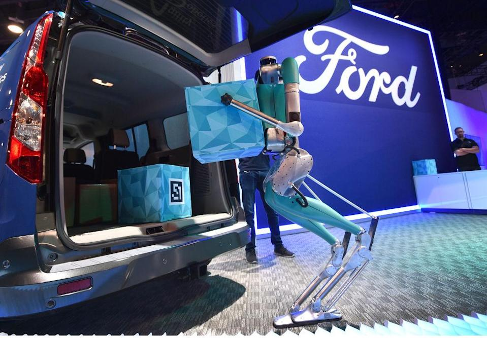 LAS VEGAS, NEVADA - JANUARY 07: Digit, an upright robot by Agility Robotics demonstrates package delivery at the Ford booth during CES 2020 at the Las Vegas Convention Center on January 7, 2020 in Las Vegas, Nevada. CES, the world's largest annual consumer technology trade show, runs through January 10 and features about 4,500 exhibitors showing off their latest products and services to more than 170,000 attendees. (Photo by David Becker/Getty Images)