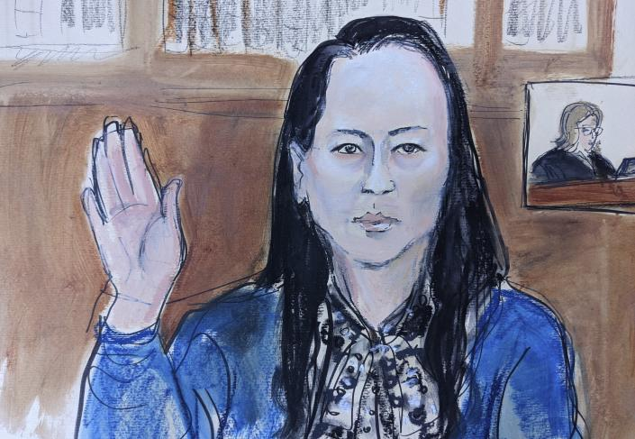 Drawn from a video feed from the defendant's attorneys office in Canada, Wanzhou Meng is sworn in before Judge Ann Donnelly, inset at right, during the proceeding in Brooklyn federal court, Friday, Sept. 24, 2021, in New York. The top executive of Chinese communications giant Huawei Technologies has resolved criminal charges against her as part of a deal with the U.S. Justice Department that could pave the way for her to return to China and that concludes a case that roiled relations between Washington and Beijing. (AP Photo/Elizabeth Williams)
