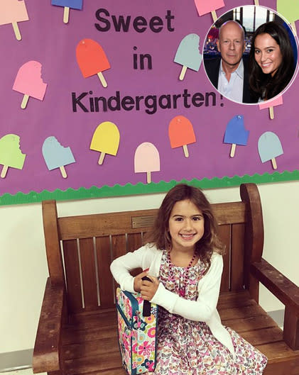 "<p>""And in a blink of an eye, she's off to kindergarten,"" wrote Bruce Willis's wife Emma along with the hashtags ""#firstdayofschool"" and ""#mybaby."" (Photos: Emma Hemming Willis via Instagram/Getty Images) </p>"