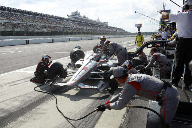 Will Power pits during an IndyCar Series auto race at Pocono Raceway, Sunday, Aug. 18, 2019, in Long Pond, Pa. (AP Photo/Matt Slocum)