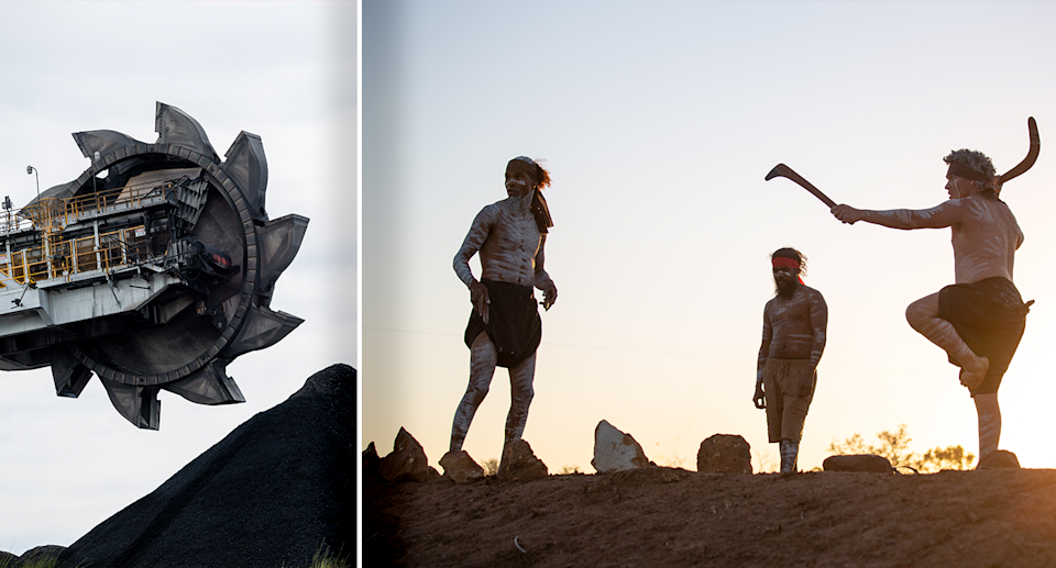 Left - a picture of coal mining equipment. Right - Indigenous people practicing culture at the camp.
