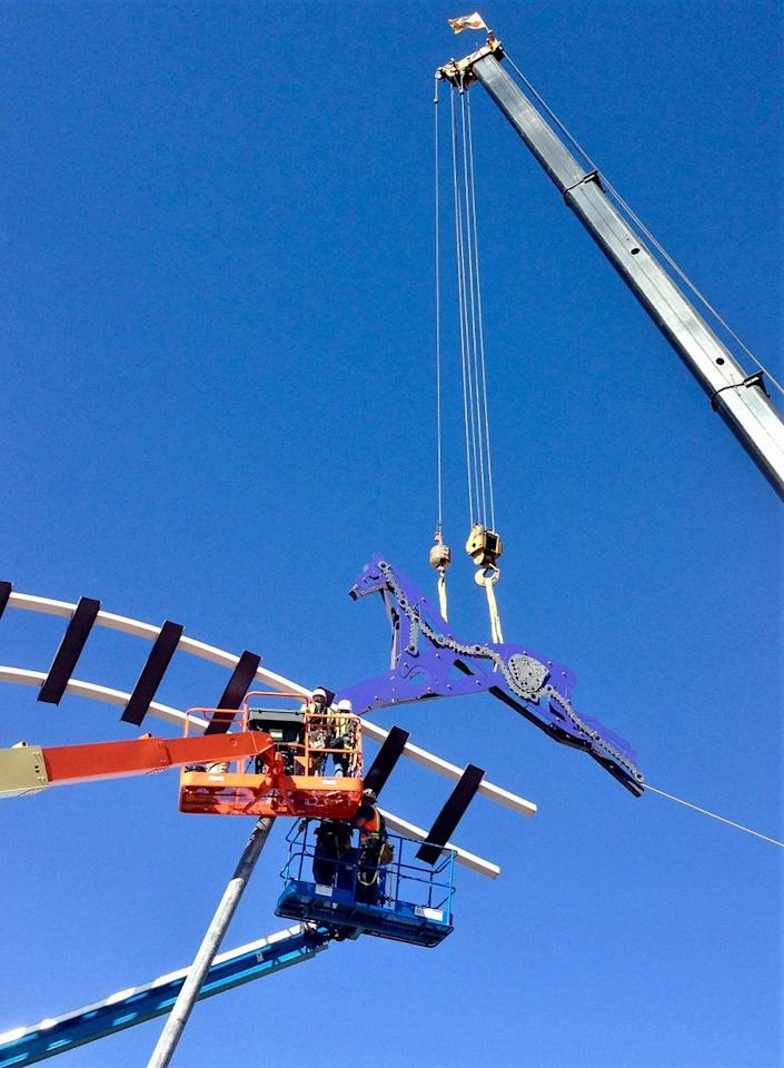 Equinox, a sculpture sitting above the Interstate 25 and U.S. Highway 34 intersection, will be taken down in January 2020 during interchange construction.