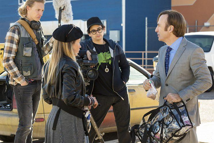 Bob Odenkirk as Jimmy McGill, Hayley Homles as Drama Girl, Josh Fadem as Camera Guy, and Julian Bonfiglio as Sound Guy in AMC's 'Better Call Saul' (Photo: Michele K. Short/AMC/Sony Pictures Television)