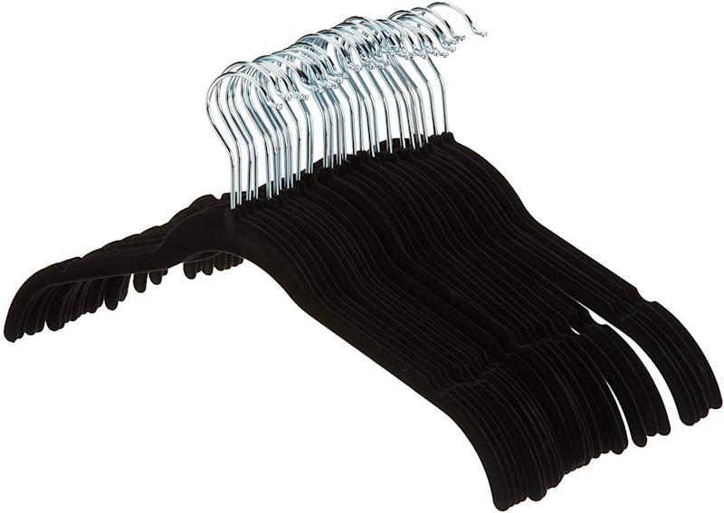 AmazonBasics Velvet Clothing Hangers - 30-Pack, Black. (Photo: Amazon)