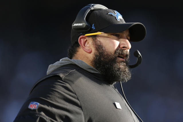 Detroit Lions head coach Matt Patricia watches from the sideline during the second half of an NFL football game against the Oakland Raiders in Oakland, Calif., Sunday, Nov. 3, 2019. (AP Photo/D. Ross Cameron)