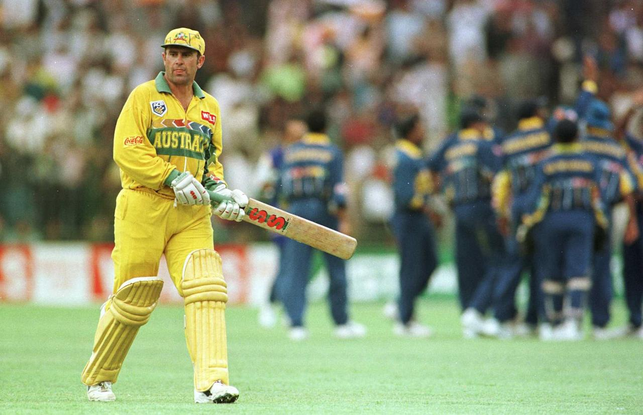 17 March 1996:  Australia captain Mark Taylor walks off dejected after losing his wicket during the Cricket World Cup Final between Australia and Sri Lanka played at the Gaddafi stadium in Lahore. Mandatory Credit: Shaun Botterill/ALLSPORT