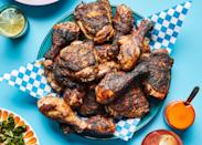 "Let's get a technicality out of the way: Classic jerk chicken is grilled over pimento wood (which comes from the tree that also produces allspice berries). If you want to order some online, we salute you. Everybody else: Hardwood or briquettes will have to do. <a href=""https://www.bonappetit.com/recipe/miss-ollies-jerk-chicken?mbid=synd_yahoo_rss"" rel=""nofollow noopener"" target=""_blank"" data-ylk=""slk:See recipe."" class=""link rapid-noclick-resp"">See recipe.</a>"