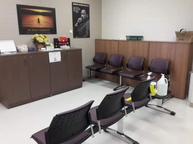 Shirley Joubert is going to transform this waiting room at Moncton High School into a relaxing space for students who are feeling overwhelmed. She plans to paint it blue, bring in some plants and furnish it with bean-bag chairs.