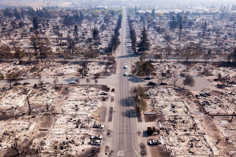 Fire damage is seen from the air in the Coffey Park neighborhoodof Santa Rosa on Oct. 11, 2017.