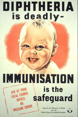 Post World War II United Kingdom poster promoting vaccination against diphtheria. (Wiki)