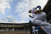 Chicago Cubs' Javier Baez runs onto the field before a baseball game against the Cleveland Indians Tuesday, June 22, 2021, at Wrigley Field in Chicago. (AP Photo/Paul Beaty)
