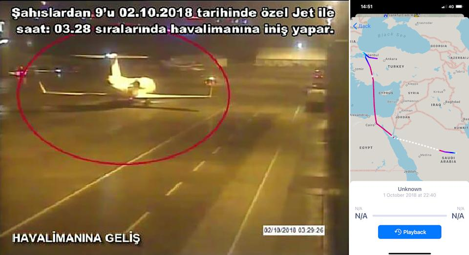 A frame grab on October 10,2018 taken from a police CCTV video made available through Turkish Newspaper Sabah allegedly shows a private jet alleged to have ferried in a group of Saudi men suspected of being involved in Saudi journalist Jamal Khashoggi's disappearance, at Istanbul's Ataturk airport on October 2, 2018; and, the flight route showing the stopover in Cairo. (Sabah Newspaper/AFP via Getty Images, no credit)