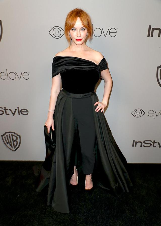 <p>Christina Hendricks attends the InStyle and Warner Bros. party. (Photo: Joe Scarnici/Getty Images for InStyle) </p>