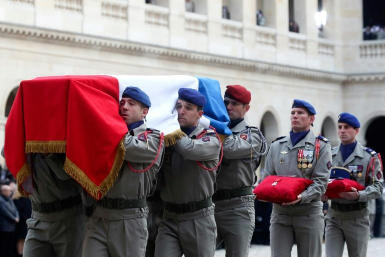 France's highest award, the l'legion d'Honneur was placed on each of the coffins (AFP Photo/Thibault Camus)