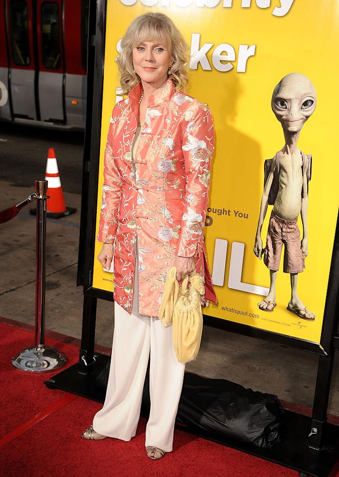 "<a href=""http://movies.yahoo.com/movie/contributor/1800010706"">Blythe Danner</a> attends the Los Angeles premiere of <a href=""http://movies.yahoo.com/movie/1810097993/info"">Paul</a> on March 14, 2011."