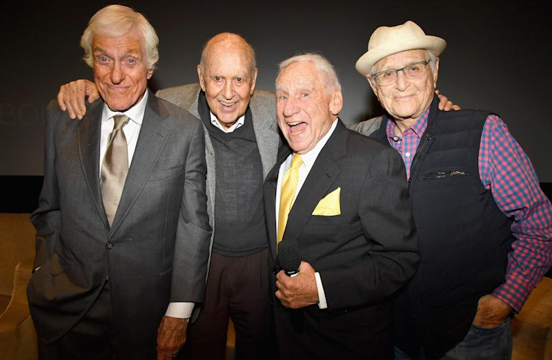 "BEVERLY HILLS, CA - MAY 17: (L-R) Dick Van Dyke, Carl Reiner, Mel Brooks and Norman Lear at the LA Premiere of ""If You're Not In The Obit, Eat Breakfast"" from HBO Documentaries on May 17, 2017 in Beverly Hills, California. (Photo by Jeff Kravitz/FilmMagic)"
