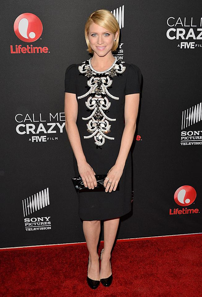 "Brittany Snow attends the premiere of Lifetime's ""Call Me Crazy: A Five Film"" at Pacific Design Center on April 16, 2013 in West Hollywood, California."