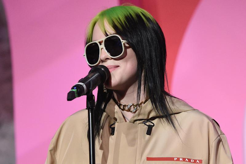 LOS ANGELES, CALIFORNIA - DECEMBER 12: Billie Eilish accepts award for Billboard Women In Music 2019, presented by YouTube Music, on December 12, 2019 in Los Angeles, California. (Photo by Kevin Mazur/Getty Images for Billboard)