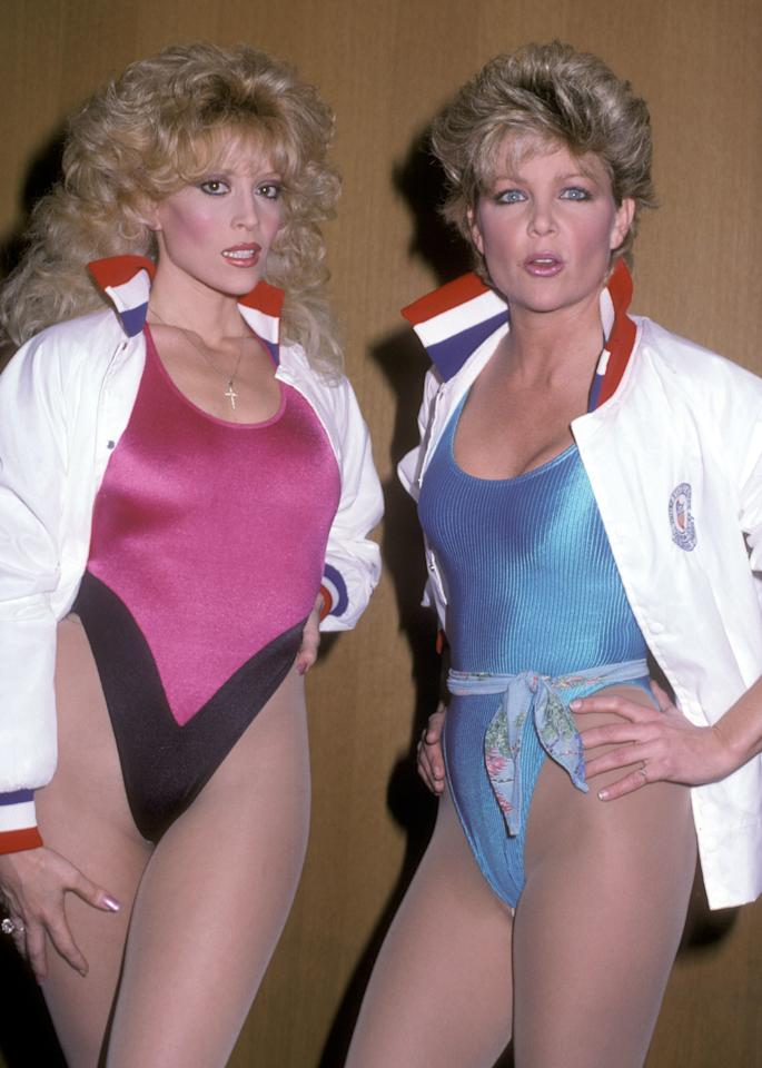 <p>This isn't your idea of athleisure? Living in the '80s meant every day looked like an episode of <em>Miami Vice</em>, so it felt equally normal for actresses Judy Landers and Lisa Hartman to wear shiny spandex leotards over nylon stockings and Easter-egg-colored makeup.</p>