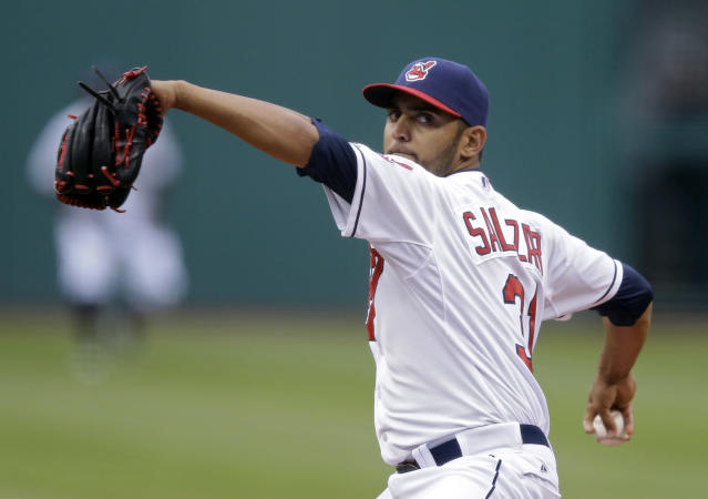Cleveland Indians starting pitcher Danny Salazar delivers against the Minnesota Twins in the first inning of a baseball game Wednesday, May 7, 2014, in Cleveland. (AP Photo/Mark Duncan)