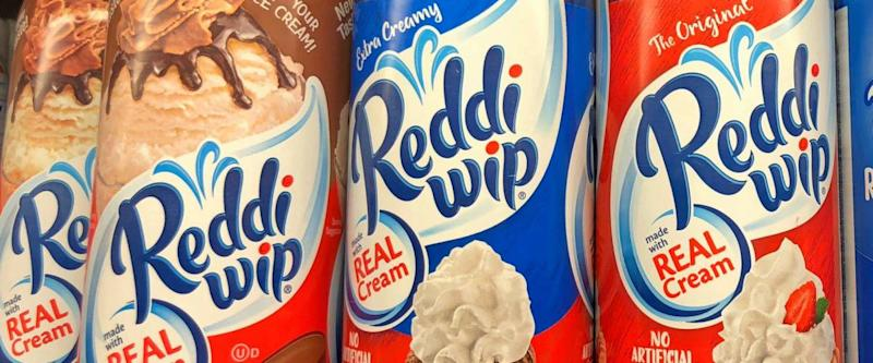 Alameda, CA - December 23, 2017: Cans of Reddi wip dairy whipped toppings. Reddi-Wip is a brand of nitrous oxide propelled, sweetened whipped cream produced by ConAgra Foods.